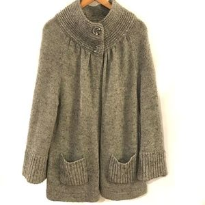 CHICO'S Gray Button Collar Open Front Cardigan L